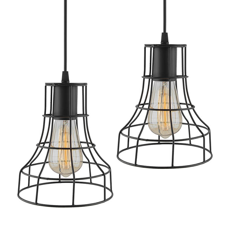 E27 Ediosn Vintage Black Metal Shade Hanging Light , Set of 2, Pendant Ceiling Light Lamp