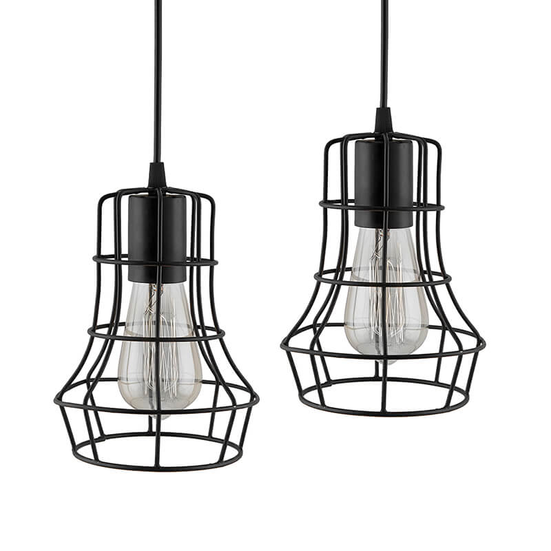 E27 Ediosn Vintage Black Metal Crown Hanging Light , Set of 2, Pendant Ceiling Light Lamp