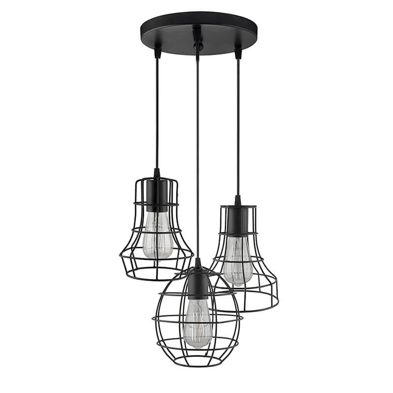3-Lights Round Cluster Chandelier Metal Cages Hanging Pendant Light with Braided Cord, Industrial Retro Modern Light
