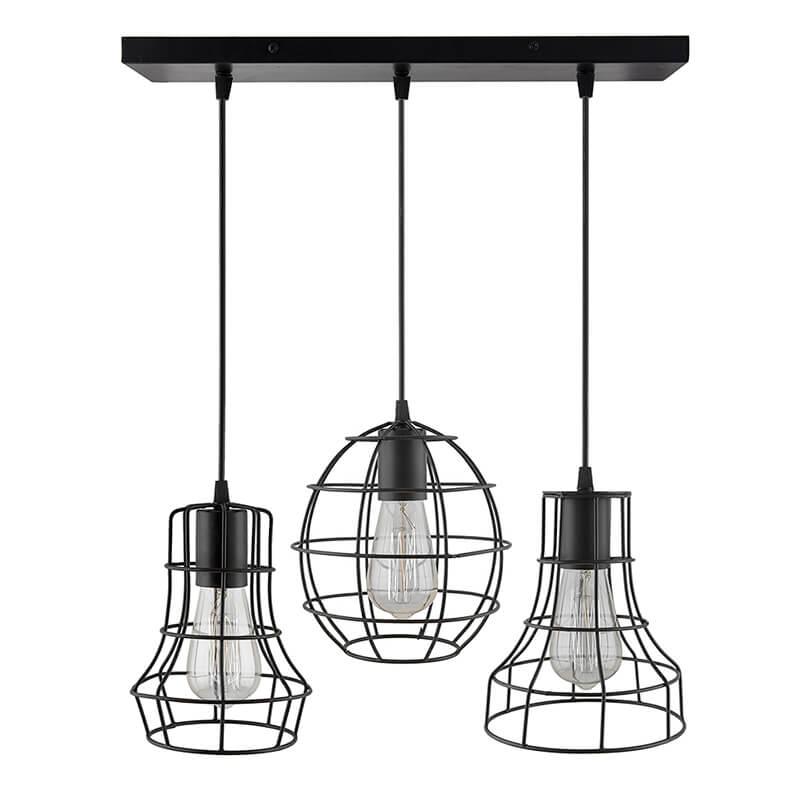 3-Lights Linear Cluster Chandelier Metal Cages hanging Pendant Light, Kitchen Area and Dining Room Light