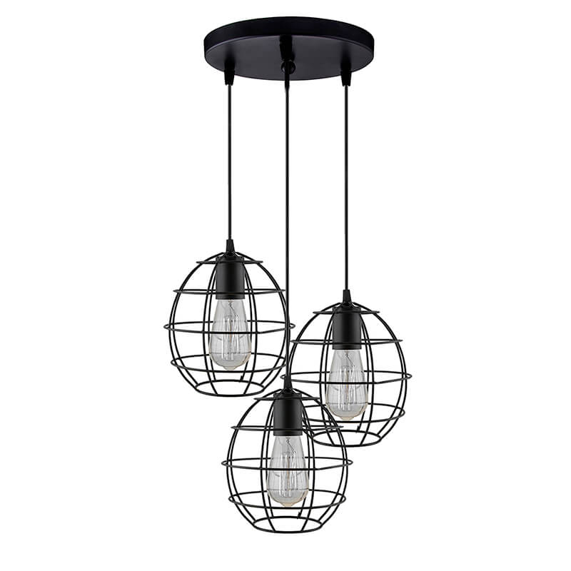 3-Lights Round Cluster Chandelier Metal Sphere Hanging Pendant Light with Braided Cord, Industrial Retro Modern Light