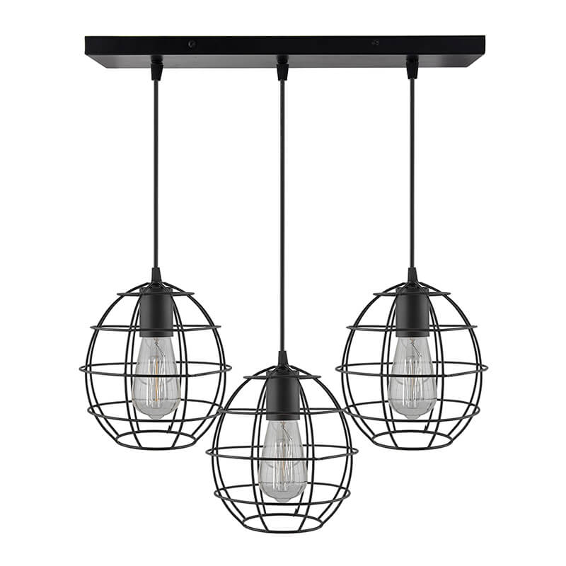 3-Lights Linear Cluster Chandelier Metal Sphere Hanging Pendant Light, Kitchen Area and Dining Room Light