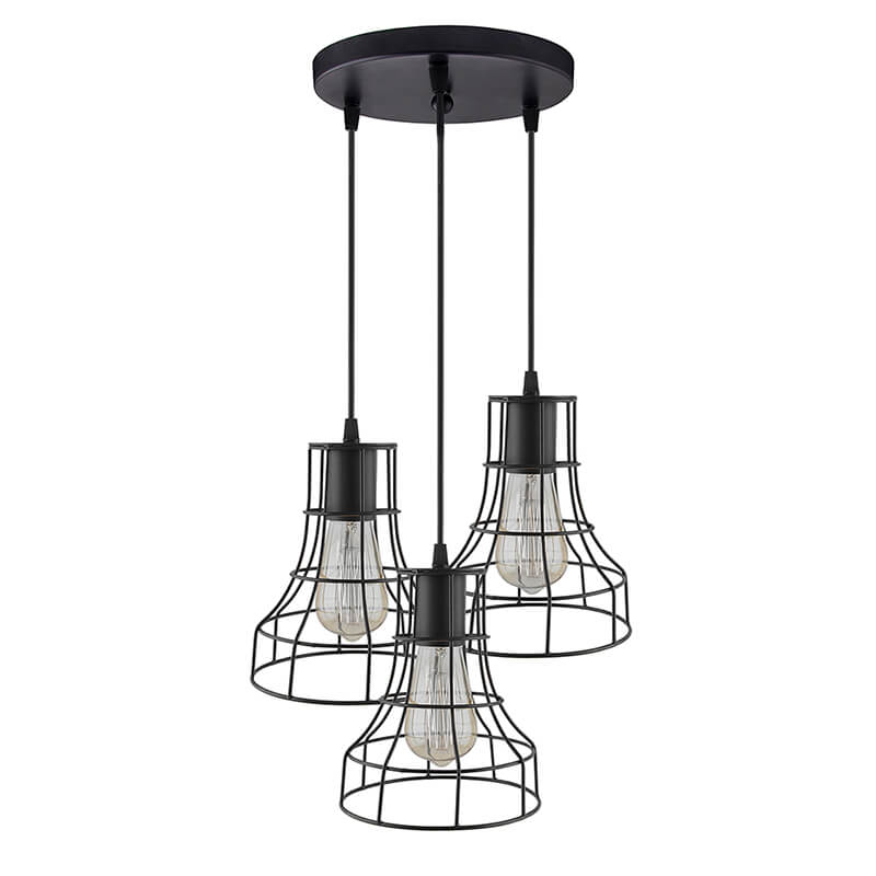 3-Lights Round Cluster Chandelier Metal Shade Hanging Pendant Light with Braided Cord, Industrial Retro Modern Light