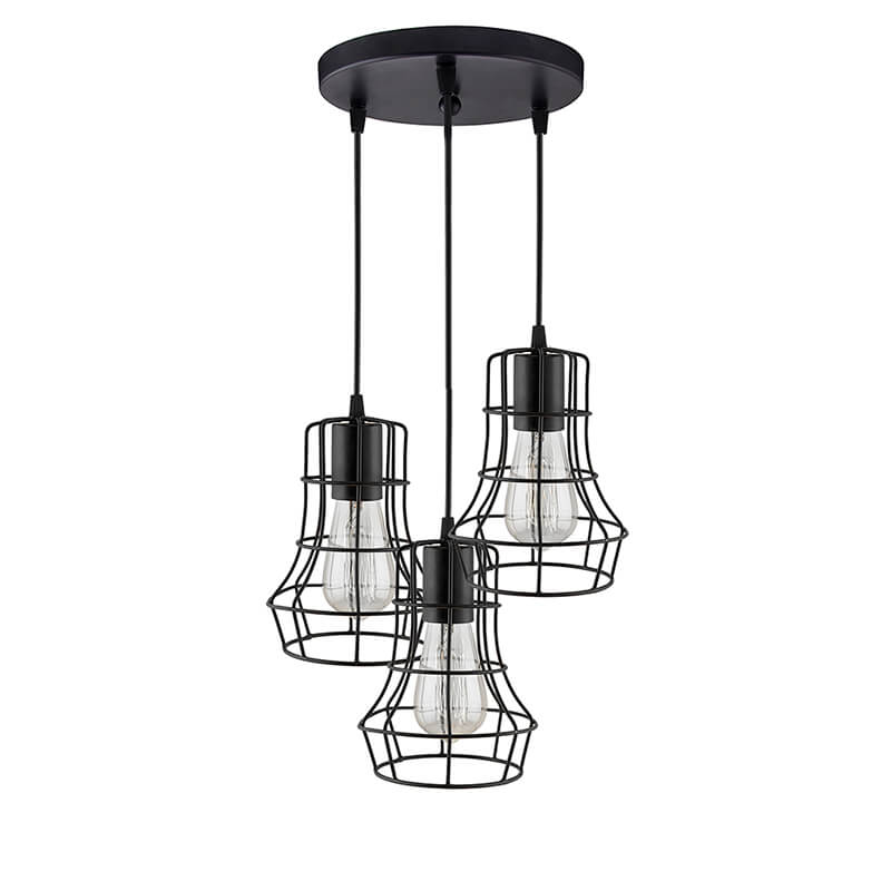 3-Lights Round Cluster Chandelier Metal Crown Hanging Pendant Light with Braided Cord, Industrial Retro Modern Light