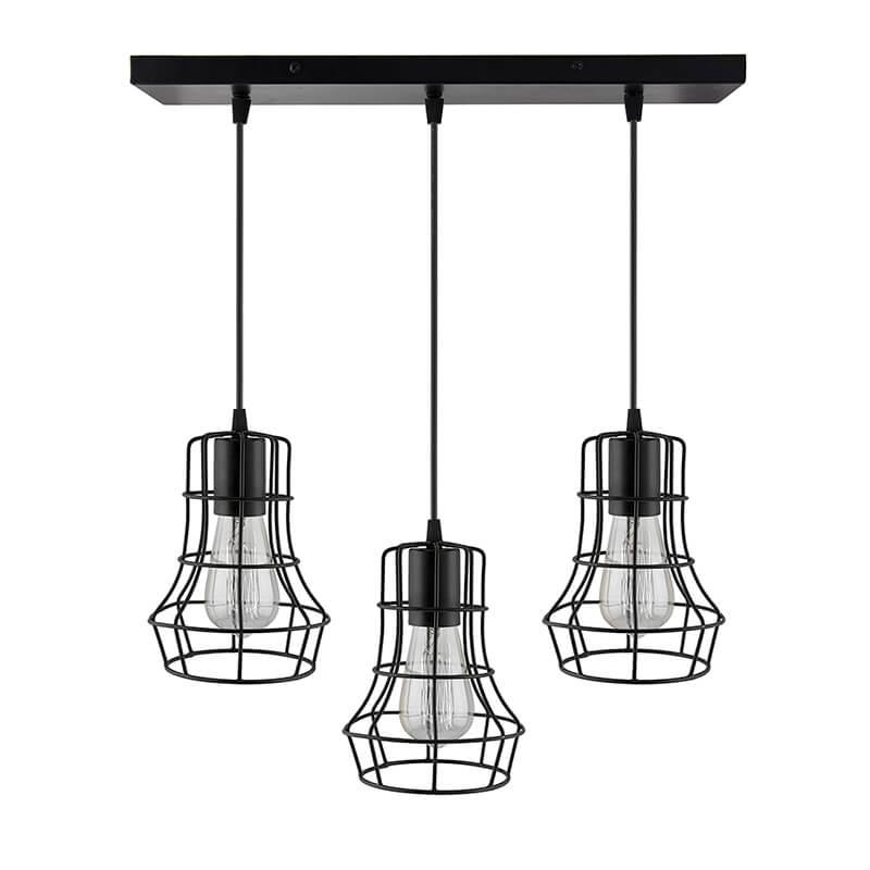 3-Lights Linear Cluster Chandelier Metal Crown Hanging Pendant Light, Kitchen Area and Dining Room Light