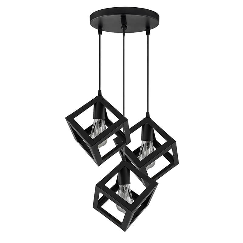 """3-Lights Round Cluster Chandelier Hanging Cube 6"""", Hanging Pendant Light with Braided Cord, URBAN Retro, Nordic Style, LED/Filament Bulb"""