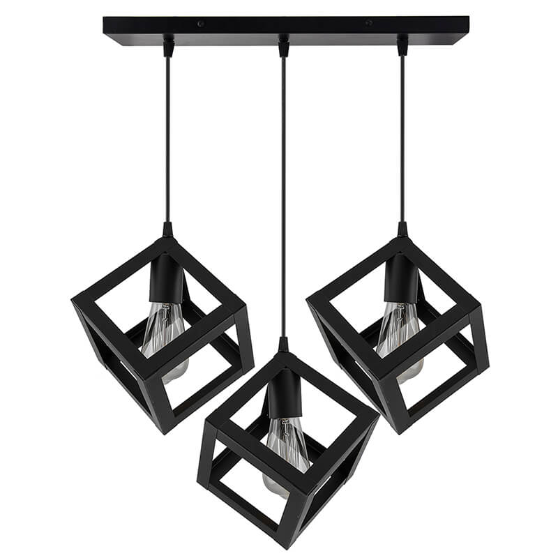 """3-Lights Linear Cluster Chandelier Hanging Cube 6"""" Pendant Light, Kitchen Area and Dining Room Light"""