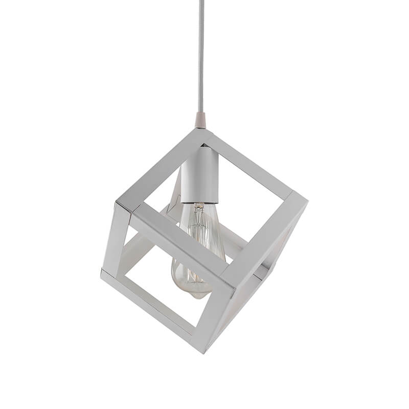 "Edison Filament White Hanging Cube 6"", E27 Holder, Decorative, URBAN Retro, Nordic Style, LED/Filament Bulb"