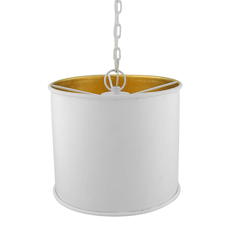 Classic Metal Shade Pendant Light, E27 White Golden Industrial Nordic Ceiling Hanging Light