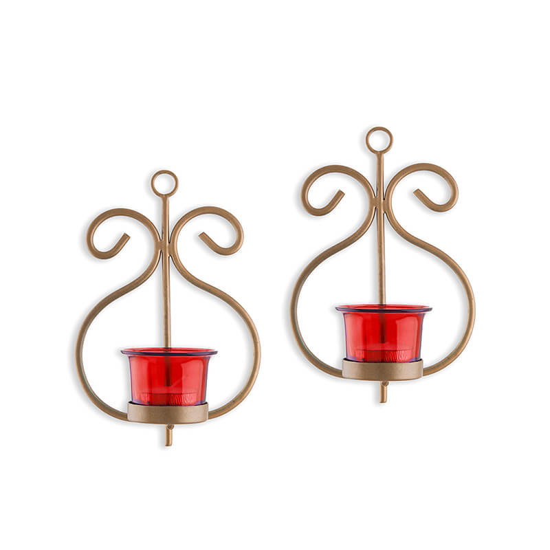 Set of 2 Decorative Golden Wall Sconce/Candle Holder With Red Glass and Free T-light Candles