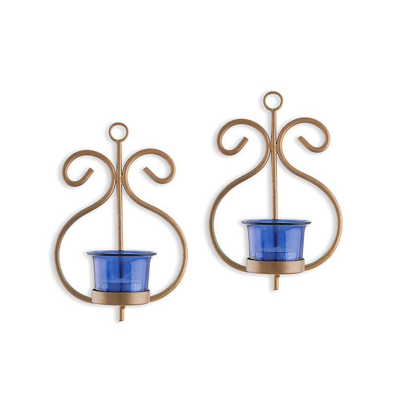 Set of 2 Decorative Golden Wall Sconce/Candle Holder With Blue Glass and Free T-light Candles