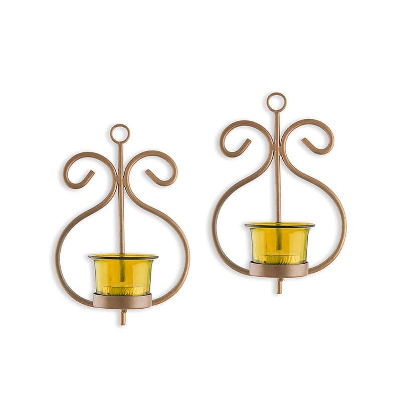 Set of 2 Decorative Golden Wall Sconce/Candle Holder With Yellow Glass and Free T-light Candles