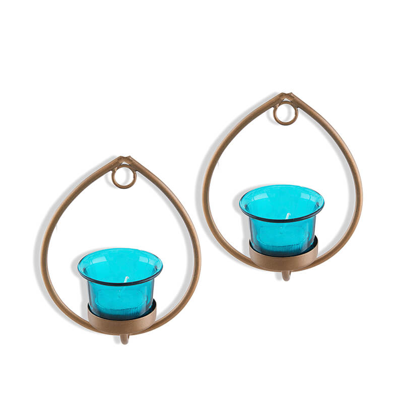 Set of 2 Decorative Golden Drop Wall Sconce/Candle Holder With Turquoise Glass and Free T-light Candles
