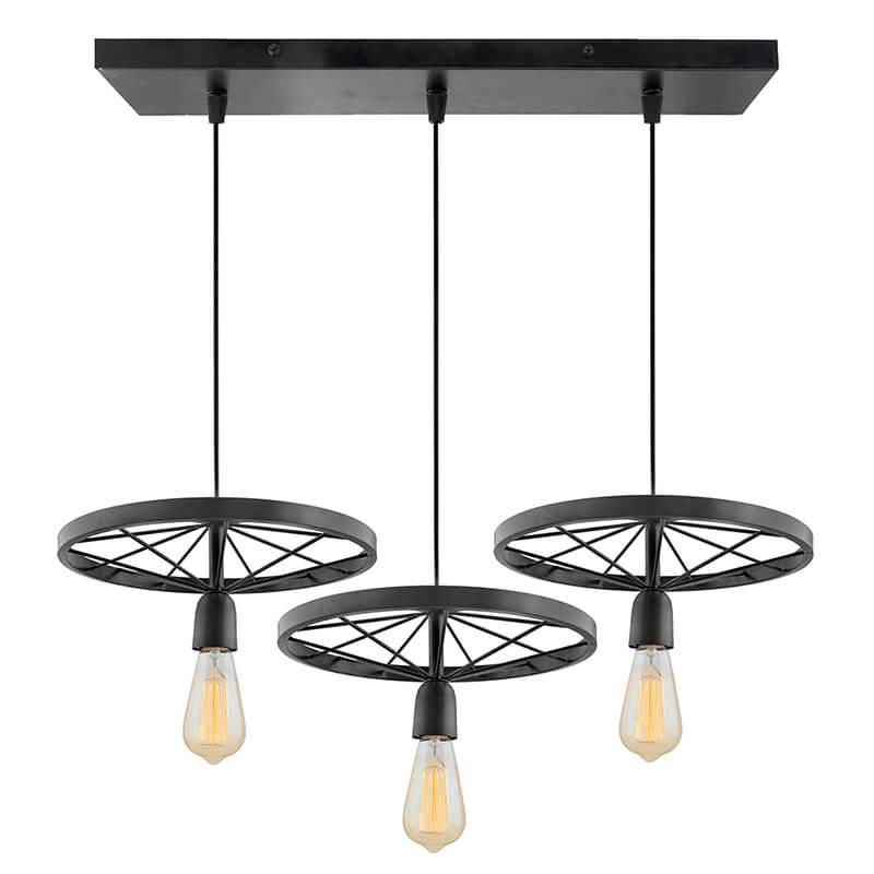3-Lights Linear Cluster Chandelier Metal Hanging Wheel Hanging Pendant Light, Kitchen Area and Dining Room Light