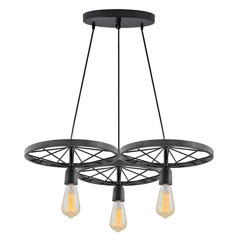 3-Lights Round Cluster Chandelier Hanging Wheel, Hanging Pendant Light with Braided Cord, URBAN Retro, Nordic Style, LED/Filament Bulb