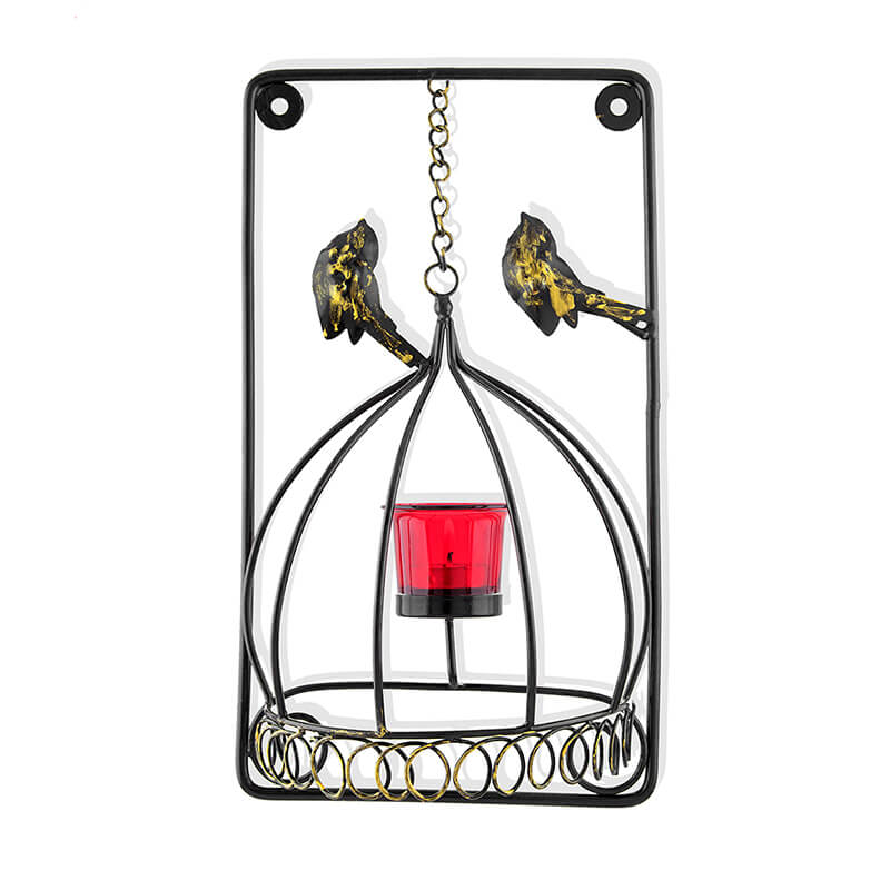 Metal Tealight Holder Bird Cage with Red Glass Candle, Wall Candle Holder Art, Metal Wall Scone Decor