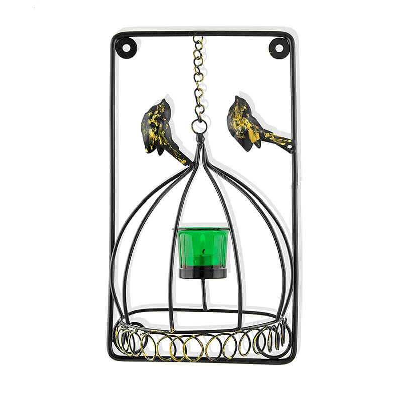 Metal Tealight Holder Bird Cage with Green Glass Candle, Wall Candle Holder Art, Metal Wall Scone Decor