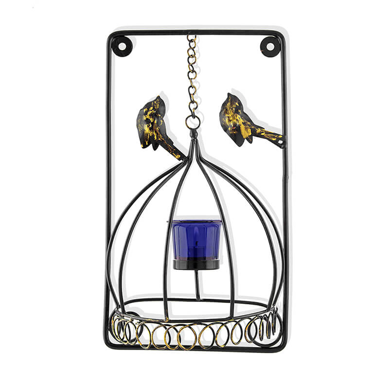 Metal Tealight Holder Bird Cage with Blue Glass Candle, Wall Candle Holder Art, Metal Wall Scone Decor