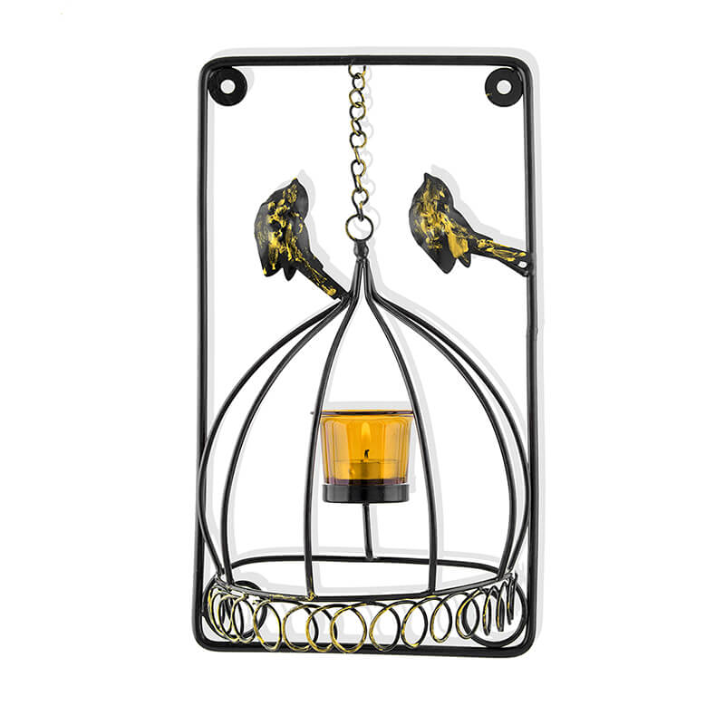 Metal Tealight Holder Bird Cage with Yellow Glass Candle, Wall Candle Holder Art, Metal Wall Scone Decor