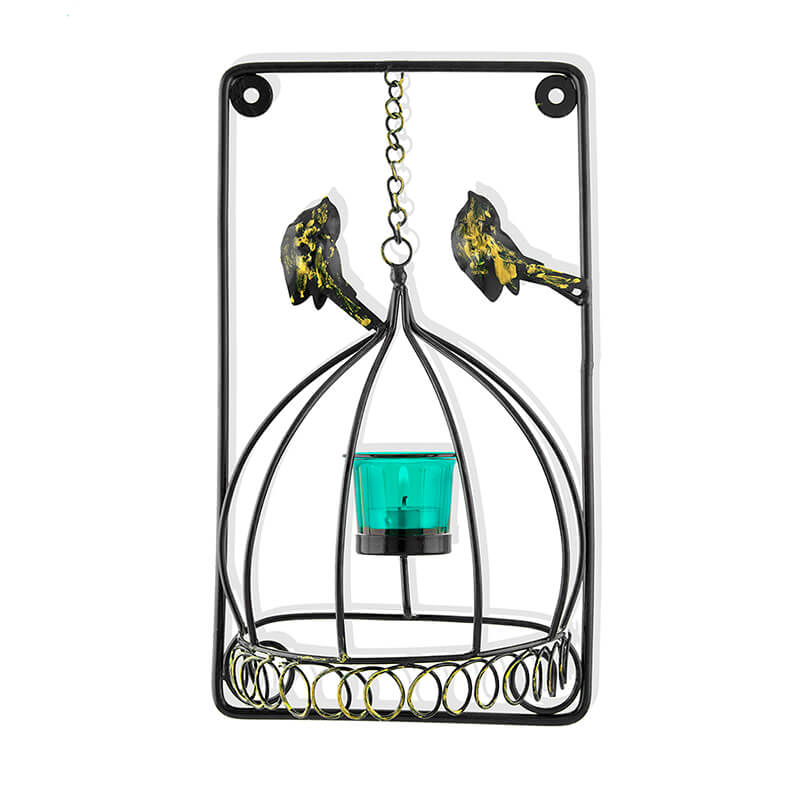 Metal Tealight Holder Bird Cage with Turquoise Glass Candle, Wall Candle Holder Art, Metal Wall Scone Decor