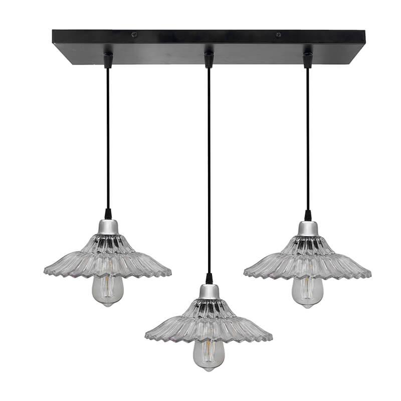 3-Lights Linear Cluster Chandelier Ribbed Glass Hanging Pendant Light, Kitchen Area and Dining Room Light, LED/Filament Light
