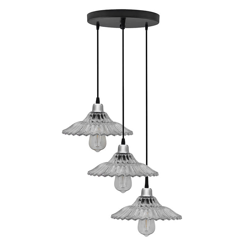 3-Lights Round Cluster Chandelier Ceiling Ribbed Glass Hanging Pendant Light with Braided Cord, URBAN Retro, Nordic Style, LED/Filament Bulb
