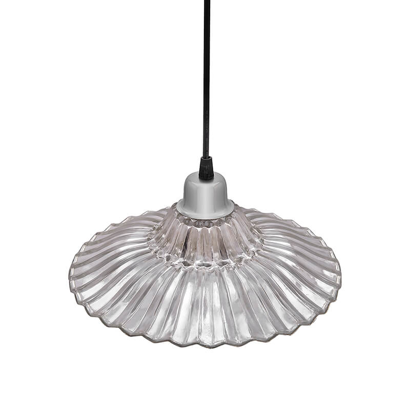CLASSIC RIBBED Antique Silver GLASS PENDANT Hanging Light, E27 Nordic Glass Ceiling LED/Filament Light