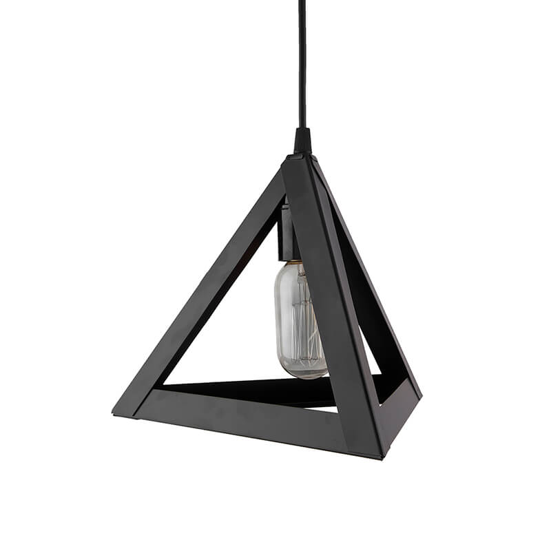 "Edison Filament Hanging Triangle 6"", E27 Holder, Decorative, Black, URBAN Retro, Nordic Style, LED/Filament Bulb"