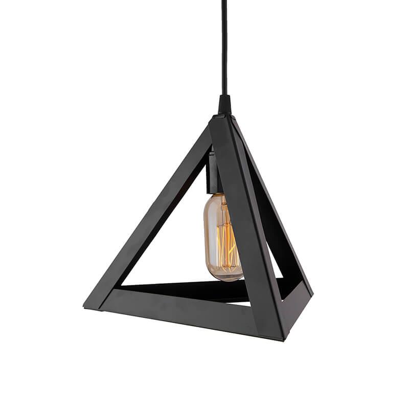 "Edison Filament Hanging Triangle 6"", E27 Holder, Decorative, Black, URBAN Retro, Nordic Style, LED/Filament Bulb"