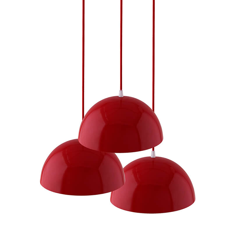 3-Lights Round Cluster Chandelier Ceiling Red Hanging Pendant Light with Braided Cord, URBAN Retro, Nordic Style, LED/Filament Bulb