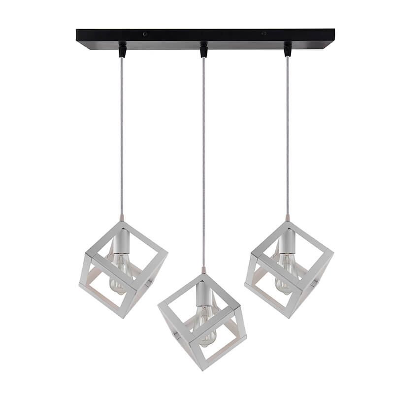 "3-Lights Linear Cluster Chandelier White Hanging Cube 6"" Pendant Light, Kitchen Area and Dining Room Light"