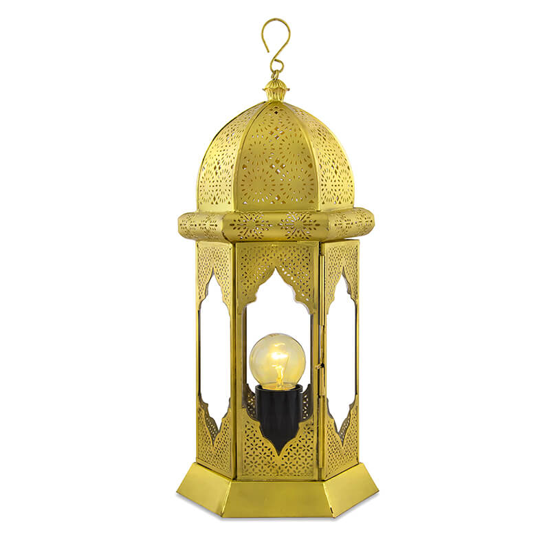 Moorish Moroccan Lamp, Antique Brass
