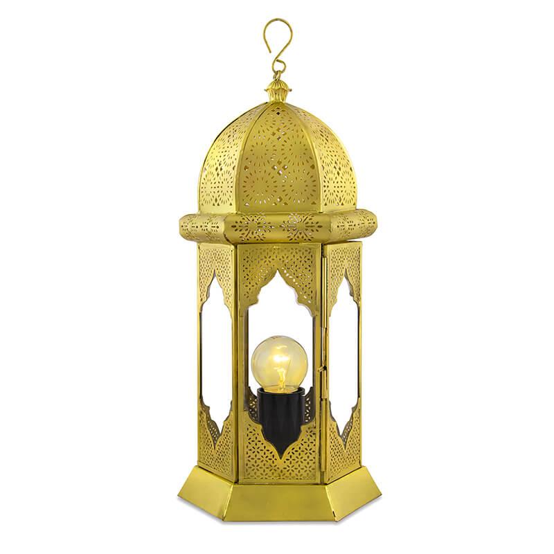 Moorish Moroccan Lamp, Antique Brass