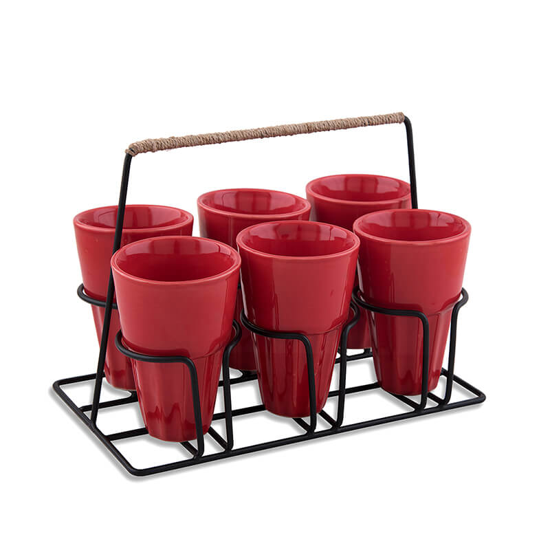 Chai Glass With Stand, Ceramic Chai Glass (6 Glasses), Red