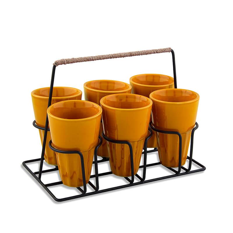 Chai Glass With Stand, Ceramic Chai Glass (6 Glasses), Yellow