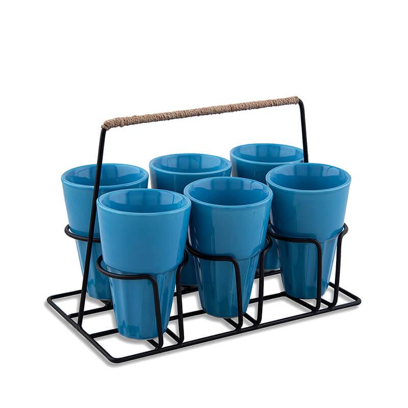 Chai Glass With Stand, Ceramic Chai Glass (6 Glasses), Blue