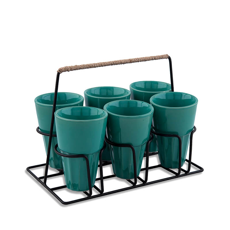 Chai Glass With Stand, Ceramic Chai Glass (6 Glasses), Green