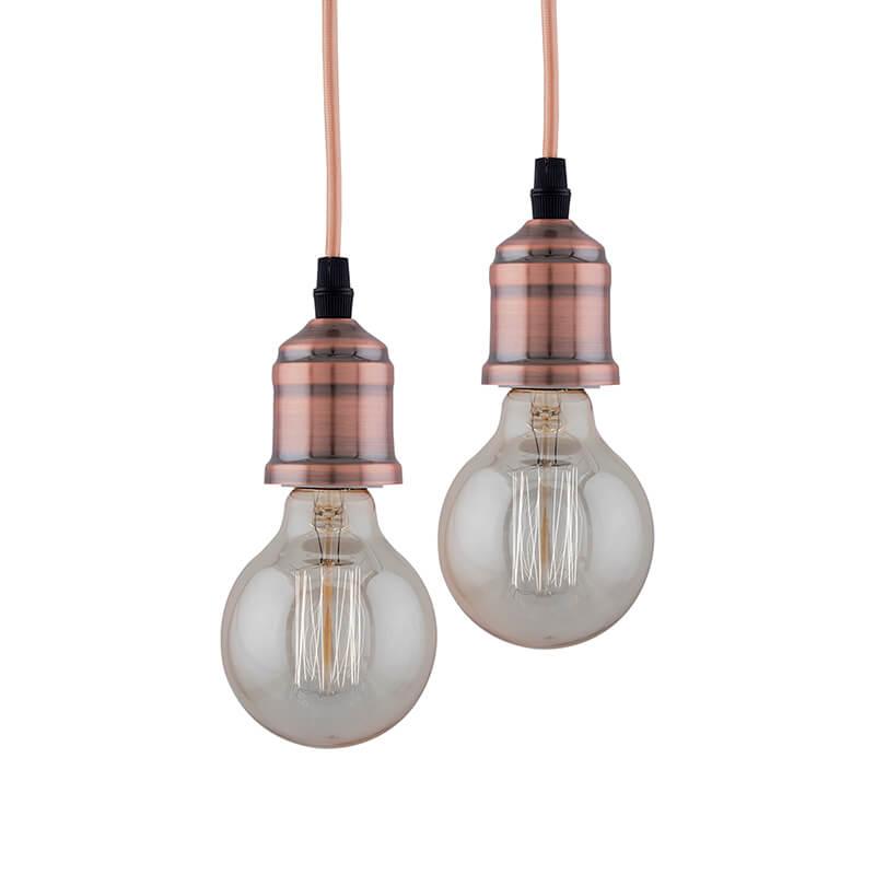 Edison Filament Metallic Antique Copper Bulb Holder, Urban, Retro, Nordic style, With Fixture, Set of 2