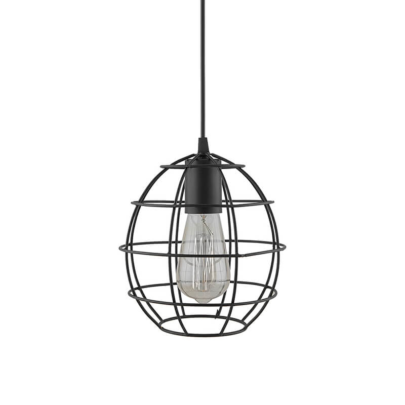 E27 Ediosn Vintage Black Metal Sphere Hanging Light, Pendant Ceiling Light Lamp