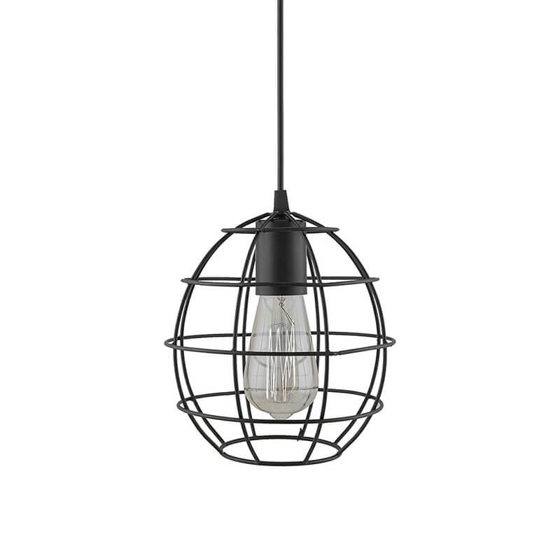 E27 Ediosn Vintage Black Metal Sphere Hanging Light, Pendant Ceiling Light Lamp