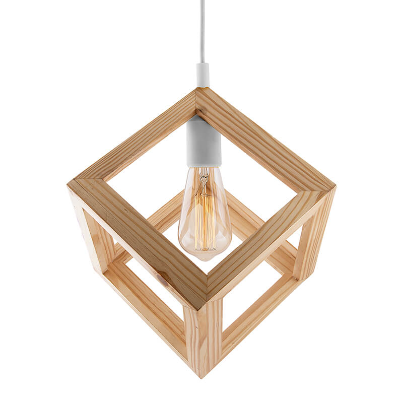 Modern Nordic Wooden Pendant Cube Light, with White Silicon Holder, Restaurant Dining Kitchen Hanging Light with Fixture, LED/Filament