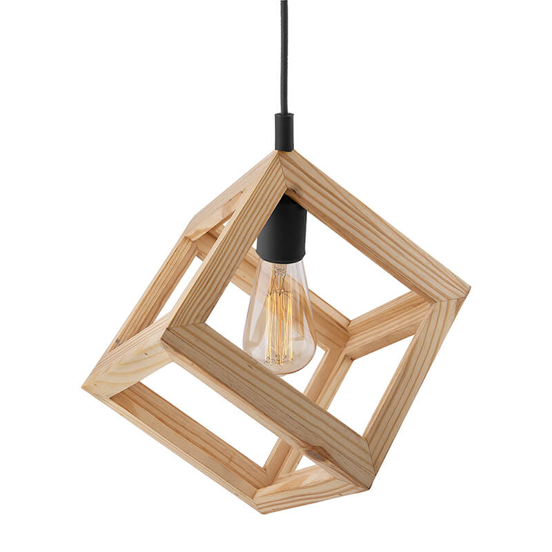 Modern Nordic Wooden Pendant Cube Light, with Black Silicon Holder, Restaurant Dining Kitchen Hanging Light with Fixture, LED/Filament