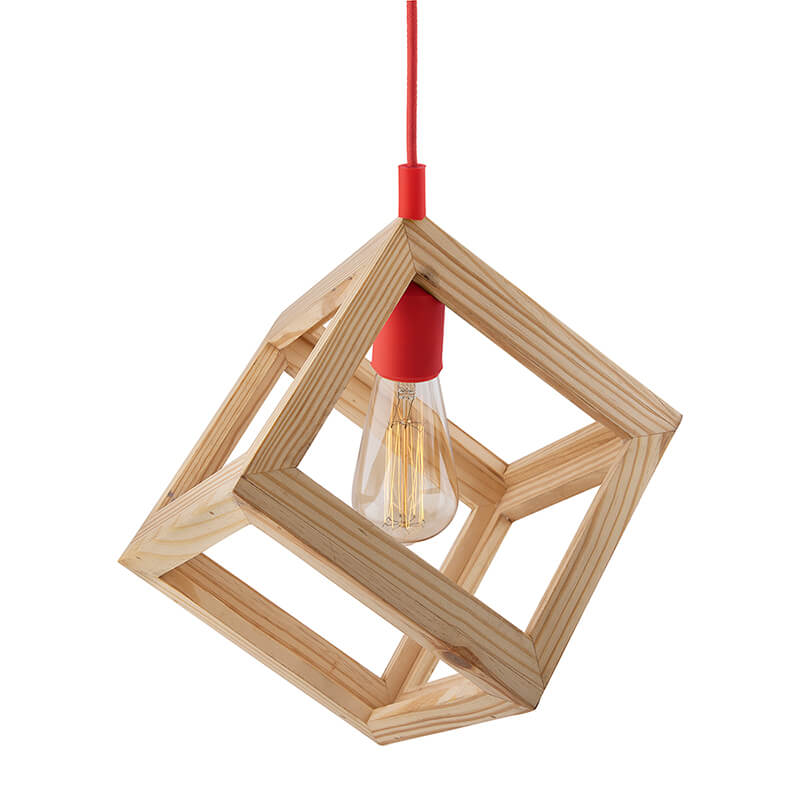 Modern Nordic Wooden Pendant Cube Light, with Red Silicon Holder, Restaurant Dining Kitchen Hanging Light with Fixture, LED/Filament