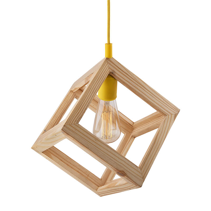 Modern Nordic Wooden Pendant Cube Light, with Yellow Silicon Holder, Restaurant Dining Kitchen Hanging Light with Fixture, LED/Filament