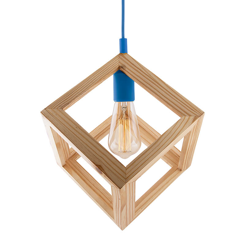 Modern Nordic Wooden Pendant Cube Light, with Blue Silicon Holder, Restaurant Dining Kitchen Hanging Light with Fixture, LED/Filament