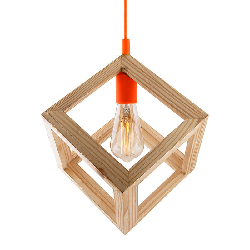 Modern Nordic Wooden Pendant Cube Light, with Orange Silicon Holder, Restaurant Dining Kitchen Hanging Light with Fixture, LED/Filament