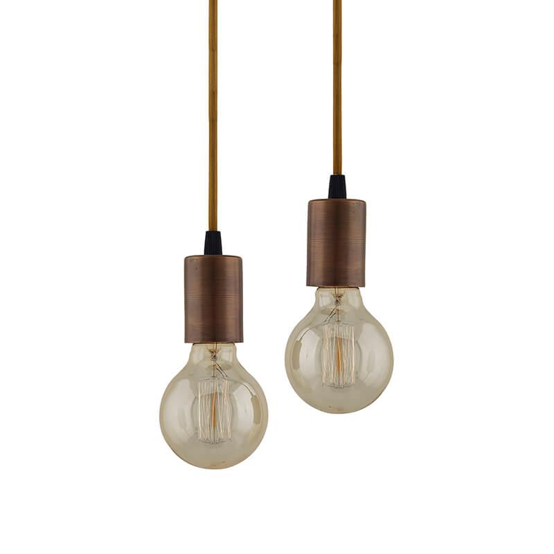 Edison Filament Antique Copper Bulb Holder, Urban, Retro, Nordic Style, with Fixture, Set of 2