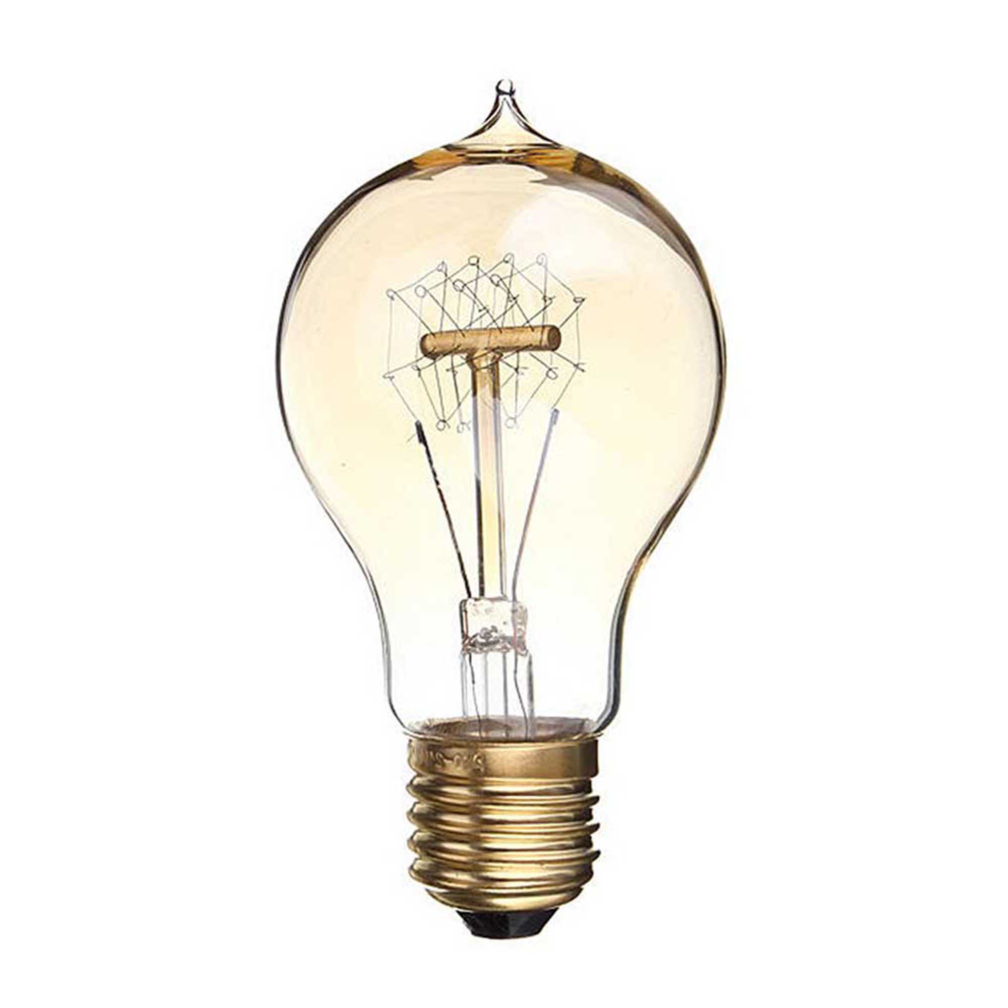 Filament A19 Vintage Edison Light Bulb, Quad-Loop Antique Hanging Light, E27 Base
