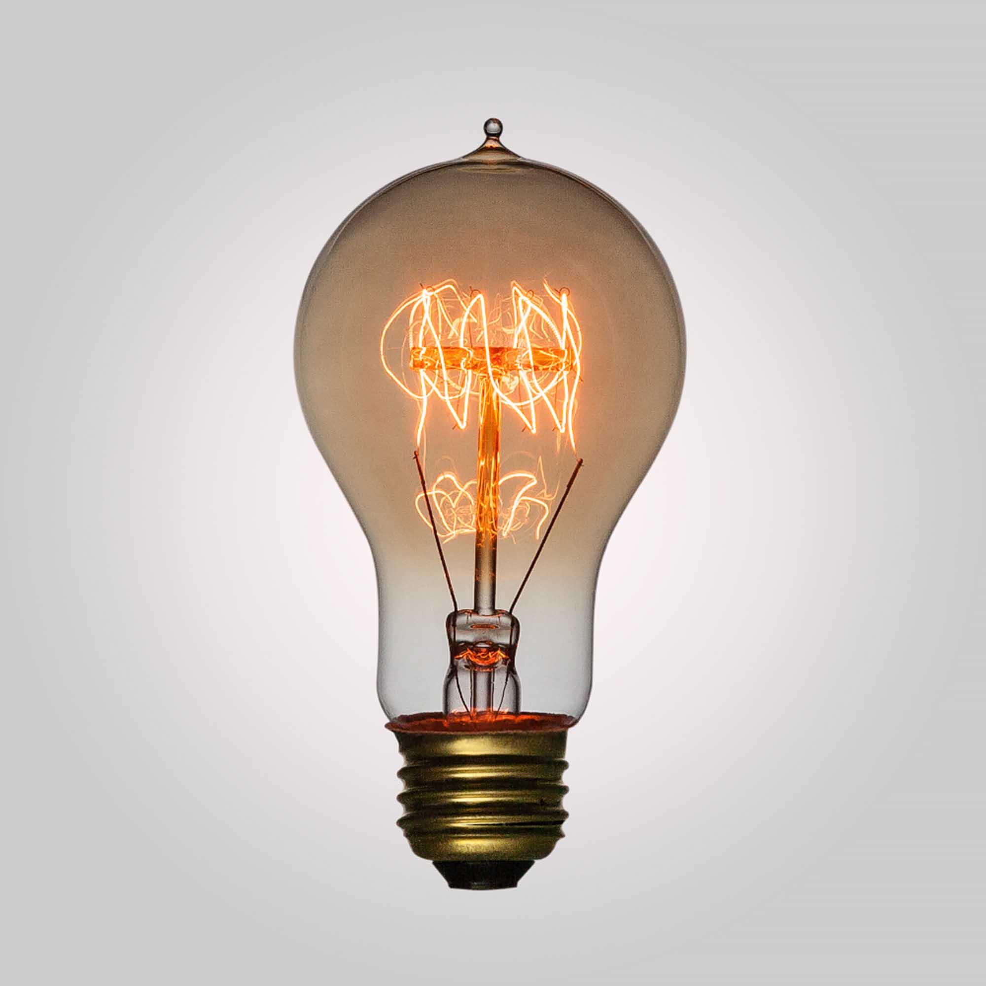 Filament A19 Vintage Edison Light Bulb, Quad-Loop Antique Hanging Light, E27 Base, Set of 2