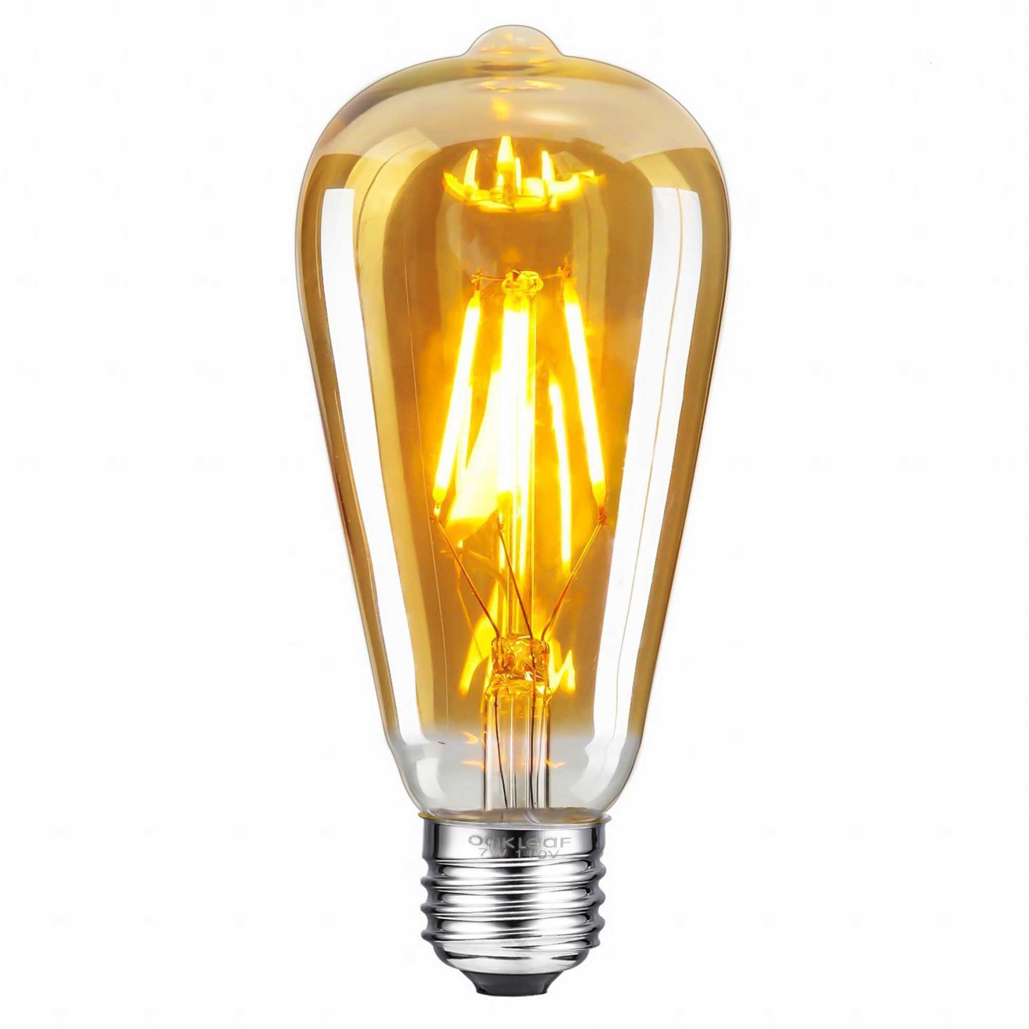 ST64 Pear Shape Filament LED Bulb, 4 Watt, Industrial Decorative Vintage Light Lamp, Set of 2